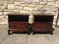 2 X STAG MINSTREL MAHOGANY WOOD LARGE BEDSIDE CABINET DRAWERS TABLES