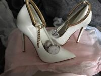 BRAND NEW WHITE/GOLD CHAIN HEELS, NEVER WORN TOO SMALL,, (SIZE 5 BUT WOULD FIT SIZE 4) £20