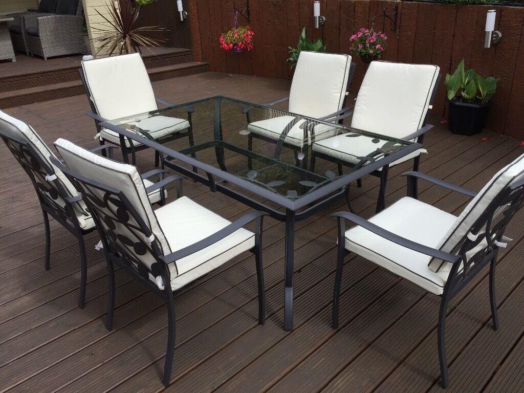 Lucca 6 seater rectangular metal garden furniture set for Metal garden furniture