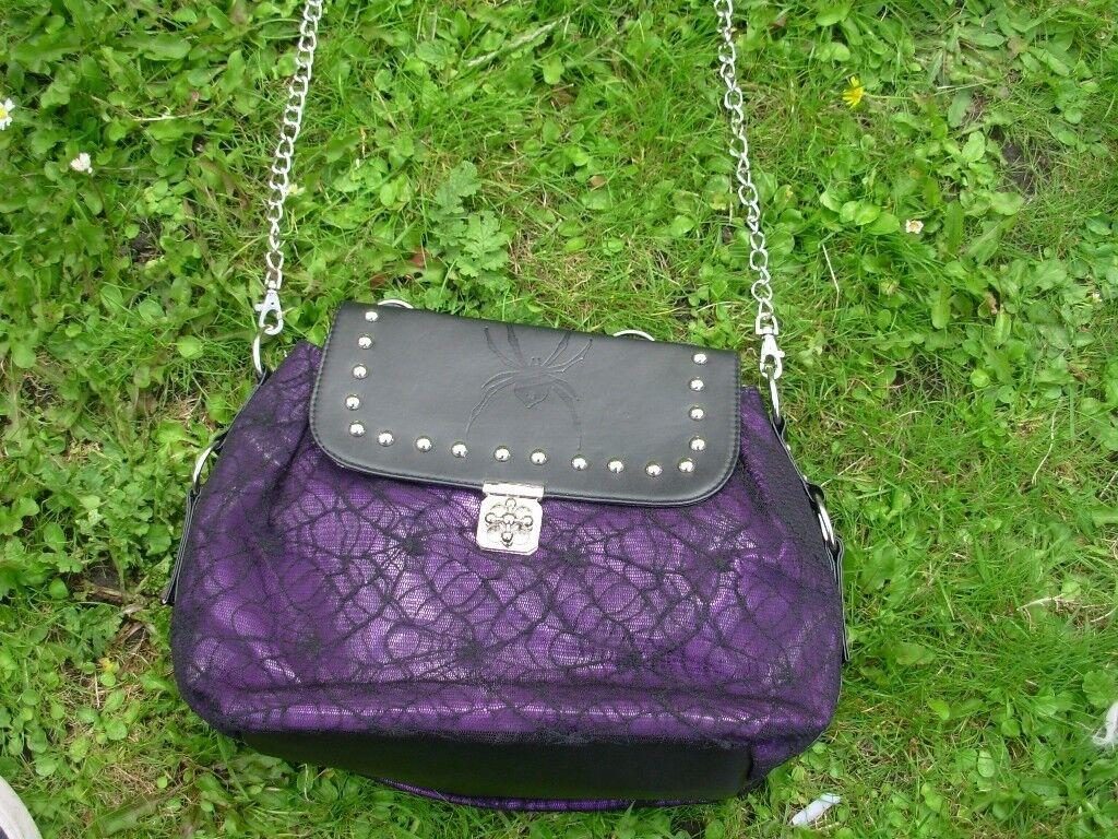 Ladies Gothic Spider Dark Star Bag Jordash Cobweb Lace Purple Shoulder Bag/Goth Punk