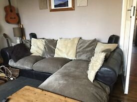 Leather and chenille sofa for sale