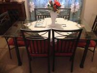 6 seat. Glass dining table