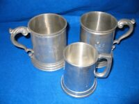 3 x Pewter tankards