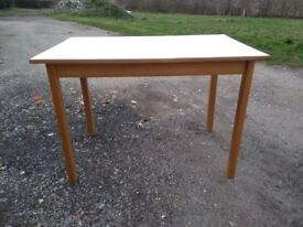 Beech wood kitchen table, white melamine top (or ideal for shed/garage use)