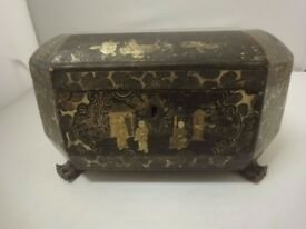 Chinese Black lacquer box with gilt overlaid chinoiserie decoration circa 1880