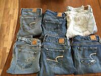 6 pairs of size 2 American Eagle Jeans only 40$!!
