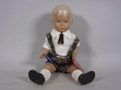 """Geschäftsaufl.:Schildkröt-Puppe:""""Hans""""(ca.25cm) mit bunter Latzhose 5G200"""