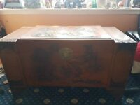 Large Vintage Camphor Carved Wooden Chest