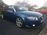 2006 06 REG AUDI A4 2.0 TDI S-LINE CONVERTIBLE. HPI CLEAR FSH. LEATHER. TIMIN...