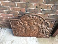 "Cast Iron Fire Back 29""x22"" Coat of arms and 1650 date on it. Probably not antique."