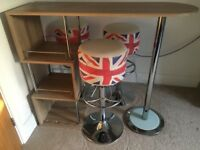 Breakfast bar with vintage style stools for sale