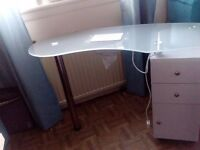 Glass Nail desk with storage. 2 drawers and storage cupboard. Integrated dust fan and wrist rest