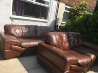 Brown leather dfs sofas