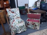 very nice blanket box and bedroom chair in floral pattern