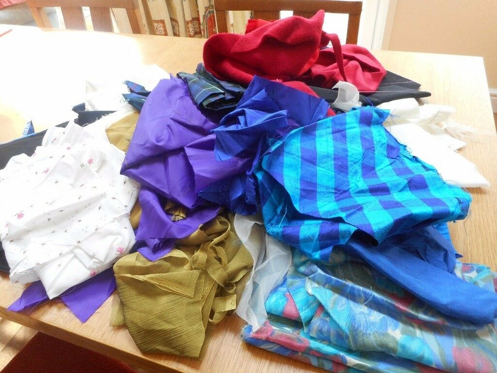 Fabric scraps/offcuts - various types of fabric including some silks