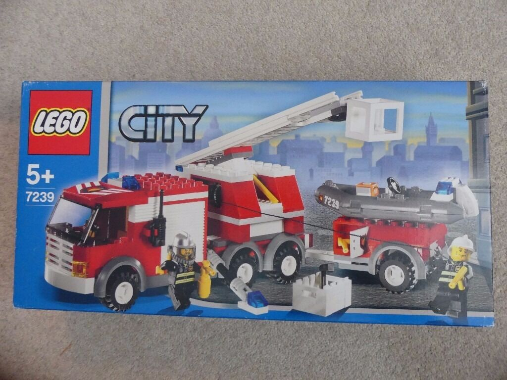 Sold Used Toy Lego City Fire Engine And Boat 7239 Boxed With