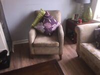Sofa with arm chair and puffet