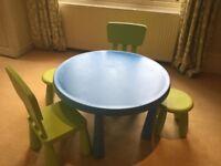 """Ikea """"Mammut"""" kids table & chairs."""