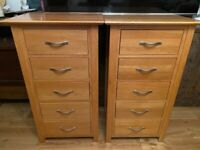 Solid Oak Tall Boy Cabinet/Chest of Drawers, Excellent Condition