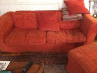2 free sofas and a pouffe. With 2 sets of covers white & terracotta
