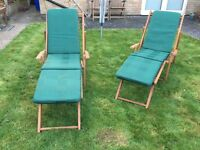 Pair of wooden steamer chairs with cushions, excellent condition. Fold flat for easy storage
