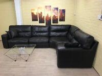 Dark Brown Italian Leather Corner Sofa