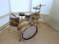 Custom 4 Piece Drum Kit in Diagonal Grain Wood Wrap with stands and Cymbals