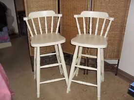 Shabby Chic Solid Pine Farmhouse Country Breakfast Bar Stools/ Chairs In Farrow & Ball Cream No 67