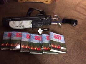 Masters golf clubs, bag and collectable golf books for Teenager