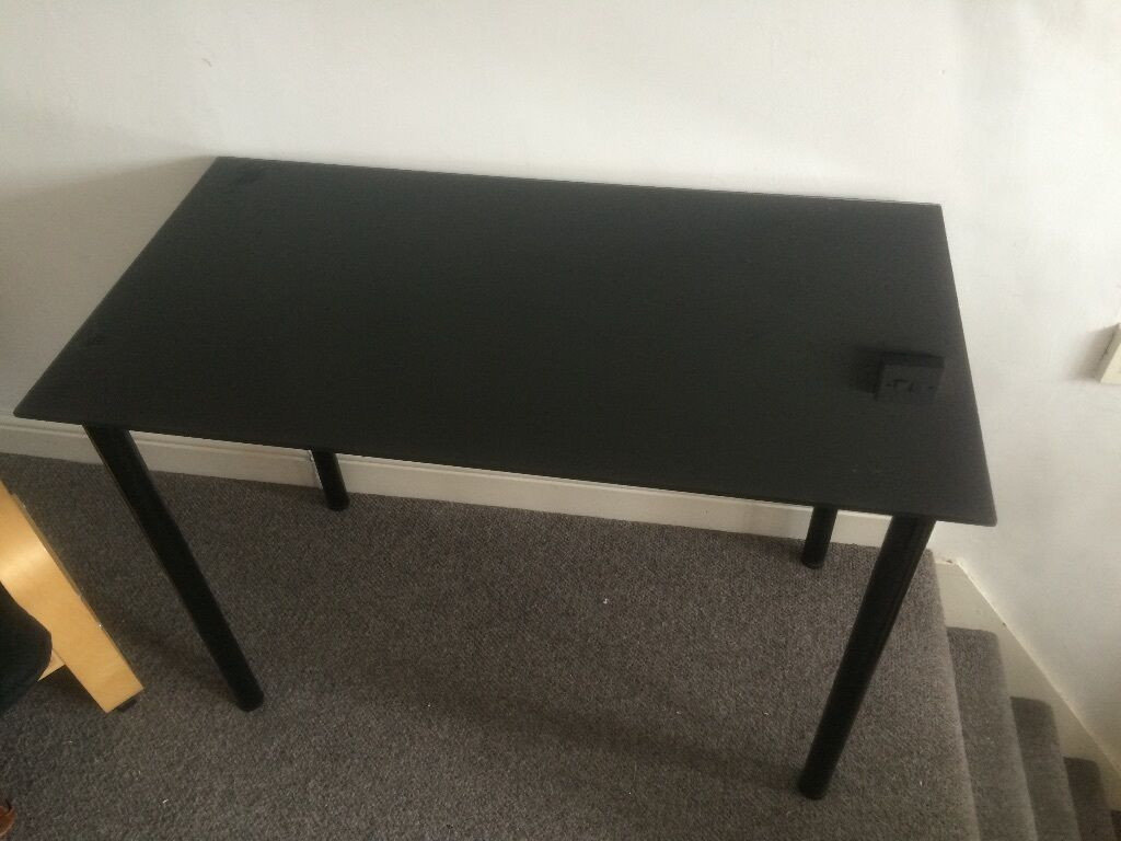 Ikea gloss black vika glasholm glass table desk in sheffield