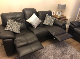 3 + 2 brown leather sofa - both with recline