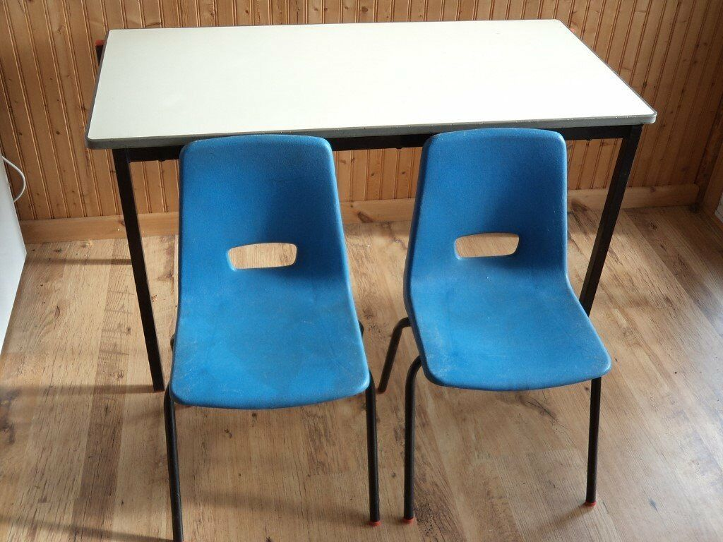 School table/desk and 2 children's chairs - very strong - GC - more available - possible workbench?