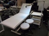 Commercial Massage Bed With 2x Stools + 3 Tier Trolley With Magnifying lamp