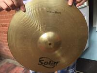 Complete cymbal set (Used) (Solar by Sabian) w/ Cymbal bag.
