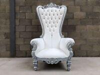 2x BRAND NEW Pretoria King Throne Chairs (180cm) - Silver Asian Wedding Luxury Italian Furniture