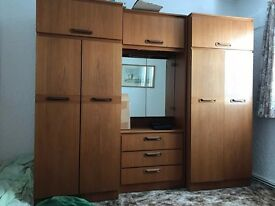 Vintage bedroom wardrobe with mirror