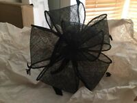 Black fascinator worn once