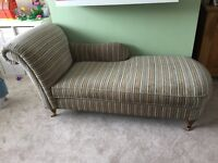 Chaise lounge chair Excellent condition and beautiful duck egg stripe fabric, on 4 castors.