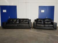 DFS LE MANS BLACK LEATHER MODERN LOUNGE SUITE 3 SEATER & 2 SEATER SOFA SETTEE DELIVERY AVAILABLE