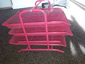 desk storage 3 trays pink