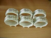 Six Eternal Beau napkin rings. In excellent condition.