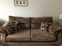 Brown 3 Seater Sofa and Swivel Chair