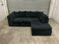 FREE DELIVERY MIDNIGHT BLUE CORD FABRIC L-SHAPED CORNER SOFA GREAT CONDITION