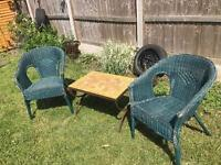 Garden table and wicker chairs