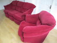 Second hand 3 piece red suite - Sofa and 2 armchairs