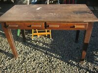 VINTAGE OAK TABLE / DESK. RUSTIC. 2 SIDE DRAWERS. ORNATE LEGS. VIEWING/DELIVERY AVAILABLE