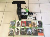 XBOX 360 ELITE + KINECT, controllers, headset and 12 games