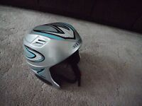 silver ski helmet