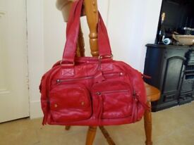 Genuine Red Leather Ladies Handbag in Great Condition