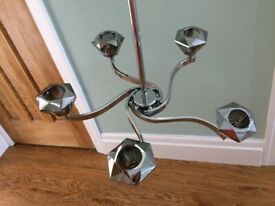 2 chrome effect 5 lamp ceiling lights